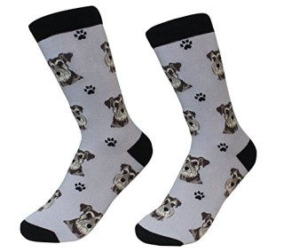 Schnauzer, Uncropped Ears Dog Breed Socks Unisex Sock Daddy by E&S Pets