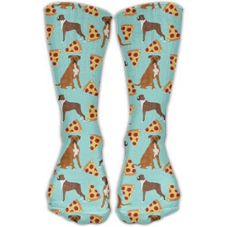 ZqCr Boxer Dog Pizza Novelty Cotton Crew Socks Casual Ankle Dress Socks For Men&Women