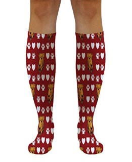 "Airedale Terrier Dog Red Pattern 21"" Solid White Tube Socks One Size"