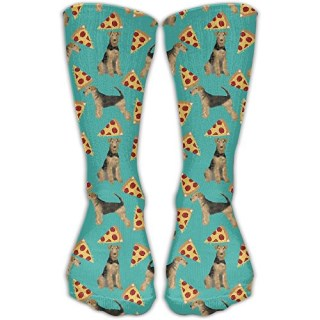 Airedale Terrier Dog Pizza Men's Womans Dress Socks Warm Hiking Comfort Moisture Wicking Non Slip Sock Shoe Size 6-10