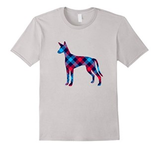 Ibizan Hound Plaid Dog Silhouette T-Shirt