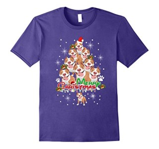 Funny Tree American Pit Bull Terrier christmas T-Shirt